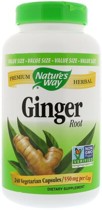 Hierbas, Raíz De Jengibre Natures Way, Ginger Root, 550 mg, 240 Vegetarian Capsules