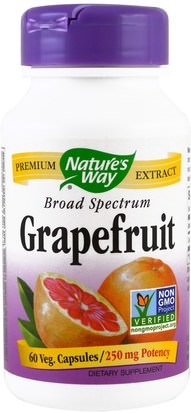 Suplementos, Antioxidantes, Extracto De Semilla De Pomelo Natures Way, Grapefruit, 250 mg, 60 Veggie Caps