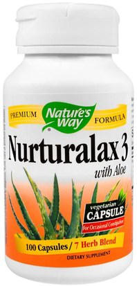 Suplementos, Aloe Vera Natures Way, Nurturalax 3, with Aloe, 100 Capsules