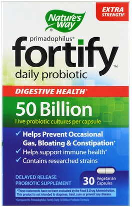 Suplementos, Probióticos Natures Way, Primadophilus, Fortify, Daily Probiotic, Extra Strength, 30 Veggie Casules
