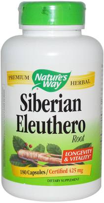 Salud, Gripe Fría Y Viral, Ginseng, Eleuthero Natures Way, Siberian Eleuthero, Root, 425 mg, 180 Capsules