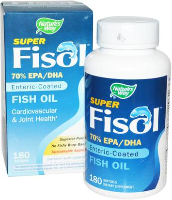 Suplementos, Efa Omega 3 6 9 (Epa Dha), Dha, Epa Natures Way, Super Fisol, Fish Oil, Enteric Coated, 180 Softgels