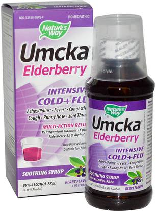Salud, Gripe Fría Y Viral, Saúco (Sambucus) Natures Way, Umcka Elderberry, Intensive Cold+Flu, Berry Flavor, 4 oz (120 ml)
