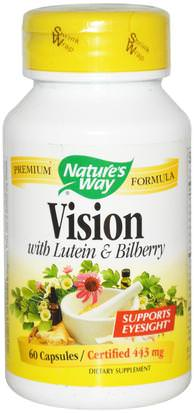Suplementos, Antioxidantes, Luteína Natures Way, Vision, With Lutein & Bilberry, 443 mg, 60 Capsules