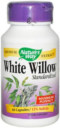 Salud, Inflamación, Corteza De Sauce Blanco Natures Way, White Willow, Standardized, 60 Capsules