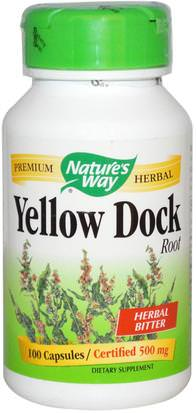 Hierbas, Muelle Amarillo Natures Way, Yellow Dock Root, 500 mg, 100 Capsules