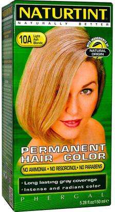 Baño, Belleza, Cabello, Cuero Cabelludo, Color De Cabello Naturtint, Permanent Hair Color, 10A Light Ash Blonde, 5.28 fl oz (170 ml)