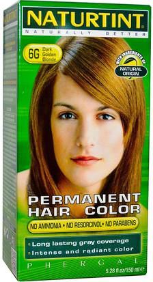 Baño, Belleza, Cabello, Cuero Cabelludo, Color De Cabello Naturtint, Permanent Hair Color, 6G Dark Golden Blonde, 5.28 fl oz (150 ml)