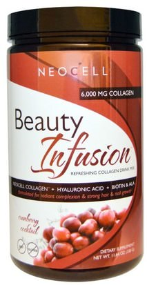 Salud, Mujeres, Hialurónico, Belleza Neocell, Beauty Infusion, Refreshing Collagen Drink Mix, Cranberry Cocktail, 11.64 oz (330 g)