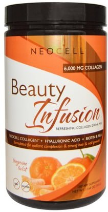 Salud, Mujeres, Hialurónico, Belleza Neocell, Beauty Infusion, Refreshing Collagen Drink Mix,Tangerine Twist, 11.64 oz (330 g)