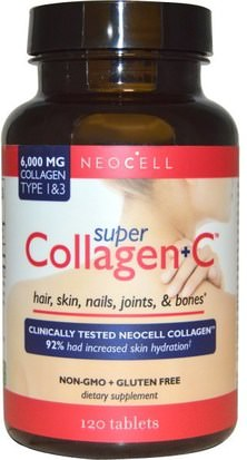 Salud, Hueso, Osteoporosis, Colágeno Tipo I Y Iii Neocell, Super Collagen+C, Type 1 & 3, 6,000 mg, 120 Tablets
