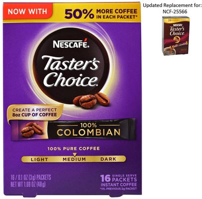 Comida, Café, Café Instantáneo, Keto Amigable Nescaf, Tasters Choice, Instant Coffee, 100% Colombian, 16 Single Serve Packets, 0.1 oz (3 g) Each