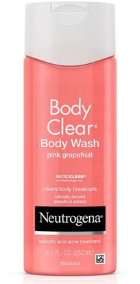 Baño, Belleza, Gel De Ducha Neutrogena, Body Clear, Body Wash, Pink Grapefruit, 8.5 fl oz (250 ml)