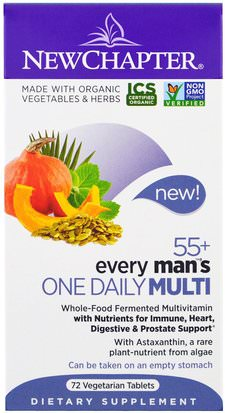 Vitaminas, Hombres, Multivitaminas New Chapter, 55+ Every Mans One Daily Multi, 72 Veggie Tabs