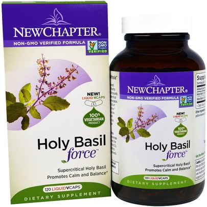 Suplementos, Adaptógeno New Chapter, Holy Basil Force, 120 Liquid VCaps