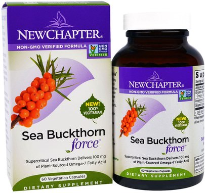 Suplementos, Espino Cerval De Mar, Adaptógeno New Chapter, Sea Buckthorn Force, 60 Veggie Caps