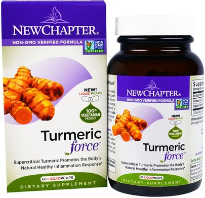 Suplementos, Antioxidantes, Curcumina, Cúrcuma New Chapter, Turmeric Force, 60 Liquid Veggie Caps