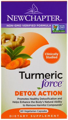 Suplementos, Antioxidantes, Curcumina New Chapter, Turmeric Force Detox Action, 60 Veggie Caps