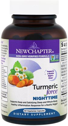 Suplementos, Antioxidantes, Curcumina New Chapter, Turmeric Force Nighttime, 60 Vegetarian Capsules
