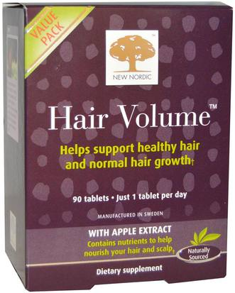 Salud, Mujeres, Suplementos Para El Cabello, Suplementos Para Uñas, Suplementos Para La Piel New Nordic US Inc, Hair Volume With Apple Extract, 90 Tablets