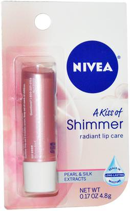 Baño, Belleza, Lápiz Labial, Brillo, Liner Nivea, A Kiss of Shimmer, Radiant Lip Care, 0.17 oz (4.8 g)
