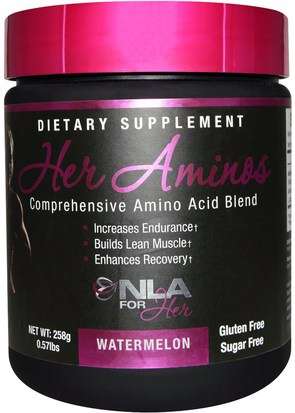 Deportes, Productos Deportivos Para Mujeres, Deporte NLA for Her, Her Aminos, Comprehensive Amino Acid Blend, Watermelon, 0.57 lbs (258 g)