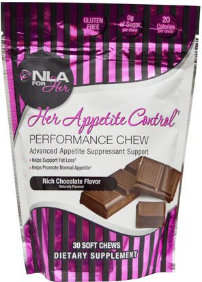 Deportes, Productos Deportivos Para Mujeres, Pérdida De Peso, Dieta NLA for Her, Her Appetite Control, Performance Chew, Rich Chocolate Flavor, 30 Soft Chews