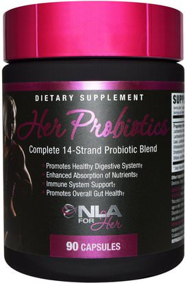 Deportes, Productos Deportivos Para Mujeres, Probióticos NLA for Her, Her Probiotics, Complete 14-Strand Probiotic Blend, 90 Capsules