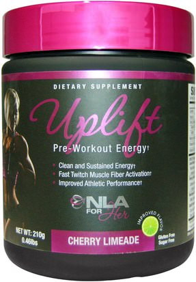 Deportes, Productos Deportivos Para Mujeres, Energía NLA for Her, Uplift, Pre-Workout Energy, Cherry Limeade, 0.46 lbs (210 g)