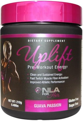 Deportes, Productos Deportivos Para Mujeres, Energía NLA for Her, Uplift, Pre Workout Energy, NLA for Her, Guava Passion, 0.46 lbs (210 g)