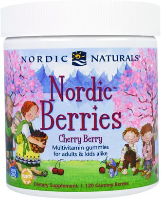 Vitaminas, Multivitaminas, Gominolas Multivitamínicas Nordic Naturals, Nordic Berries, Cherry Berry, 120 Gummy Berries