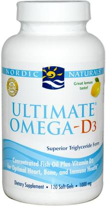 Vitaminas, Vitamina D3 Nordic Naturals, Ultimate Omega-D3, Lemon, 1000 mg, 120 Soft Gels