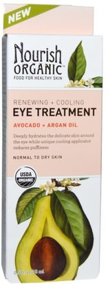 Belleza, Cremas Para Ojos, Cuidado Facial, Tipo De Piel Piel Normal A Seca Nourish Organic, Renewing + Cooling Eye Treatment, Avocado + Argan Oil, 0.5 fl oz (15 ml)