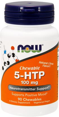 Suplementos, 5-Htp, 5-Htp 100 Mg Now Foods, 5-HTP, Chewable, Natural Citrus Flavor, 100 mg, 90 Chewables