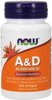 Vitaminas, Vitamina A Y D Now Foods, A&D, Essential Nutrition, 10,000/400 IU, 100 Softgels
