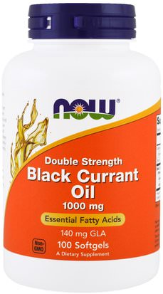 Suplementos, Efa Omega 3 6 9 (Epa Dha), Grosella Negra Now Foods, Black Currant Oil, Double Strength, 1000 mg, 100 Softgels