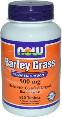 Suplementos, Superalimentos, Hierba De Cebada Now Foods, Certified Organic Barley Grass, 500 mg, 250 Tablets