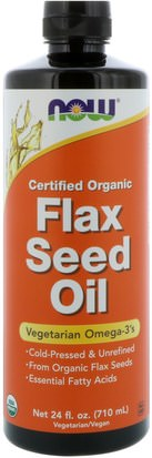 Suplementos, Efa Omega 3 6 9 (Epa Dha), Aceite De Lino Now Foods, Certified Organic Flax Seed Oil, 24 fl oz (710 ml)