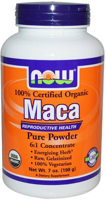 Salud, Hombres, Maca Now Foods, Certified Organic Maca, Pure Powder, 7 oz (198 g)