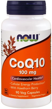 Suplementos, Coenzima Q10, Coq10 Now Foods, CoQ10, With Hawthorn Berry, 100 mg, 90 Veg Capsules