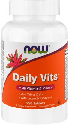 Vitaminas, Multivitaminas, Salud De Las Uñas Now Foods, Daily Vits, 250 Tablets