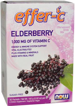 Deportes, Reposición De Bebida Electrolítica, Vitamina C Now Foods, Effer-C, Effervescent Drink Mix, Elderberry, 30 Packets, 5.82 oz (165g)