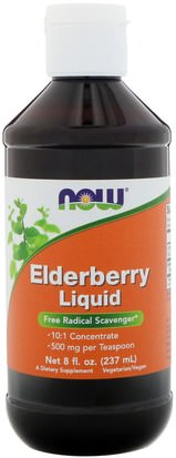 Salud, Gripe Fría Y Viral, Saúco (Sambucus) Now Foods, Elderberry Liquid, 8 fl oz (237 ml)