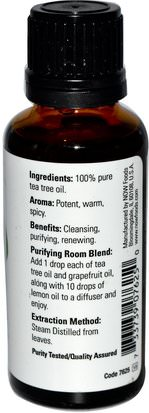 Baño, Belleza, Aceites Esenciales De Aromaterapia, Aceite De Árbol De Té Now Foods, Essential Oils, Tea Tree, 1 fl oz (30 ml)