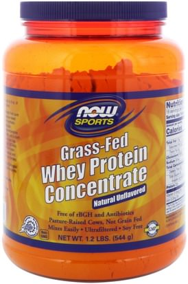 Deportes, Suplementos, Proteína De Suero De Leche Now Foods, Grass-Fed Whey Protein Concentrate, Natural Unflavored, 1.2 lbs (544 g)