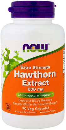 Salud, Presión Arterial, Hierbas, Espino Now Foods, Hawthorn Extract, Extra Strength, 600 mg, 90 Veg Capsules