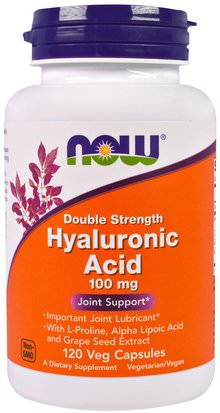 Belleza, Anti Envejecimiento, Ácido Hialurónico, Salud, Hueso, Osteoporosis Now Foods, Hyaluronic Acid, Double Strength, 100 mg, 120 Veg Capsules