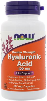 Belleza, Anti Envejecimiento, Ácido Hialurónico, Salud, Hueso, Osteoporosis Now Foods, Hyaluronic Acid, Double Strength, 100 mg, 60 Veg Capsules