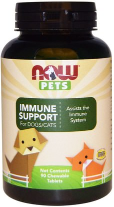 Cuidado De Mascotas, Mascotas Perros, Mascotas Gatos Now Foods, Pets, Immune Support, For Dogs/Cats, 90 Chewable Tablets