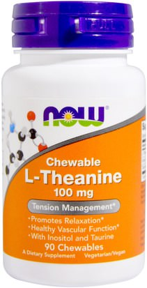 Suplementos, L Theanine Now Foods, L-Theanine, 100 mg, 90 Chewables